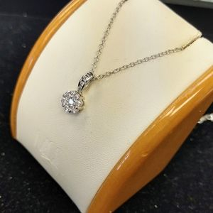 NWT Natural diamond White gold flower necklace